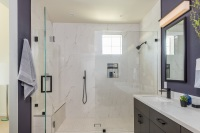 Fiorito Interior Design, interior design, remodel, master bathroom, modern, purple wall, vanity, shower