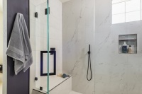 Fiorito Interior Design, interior design, remodel, master bathroom, modern, purple wall, shower