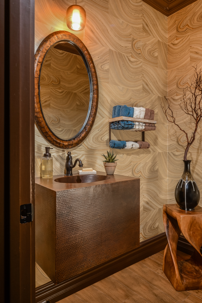 Fiorito Interior Design, interior design, remodel, powder room, copper vanity, agate wallpaper