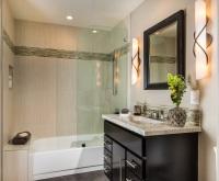 Fiorito Interior Design, interior design, remodel, bathroom, vanity, sconces, tub, shower, modern