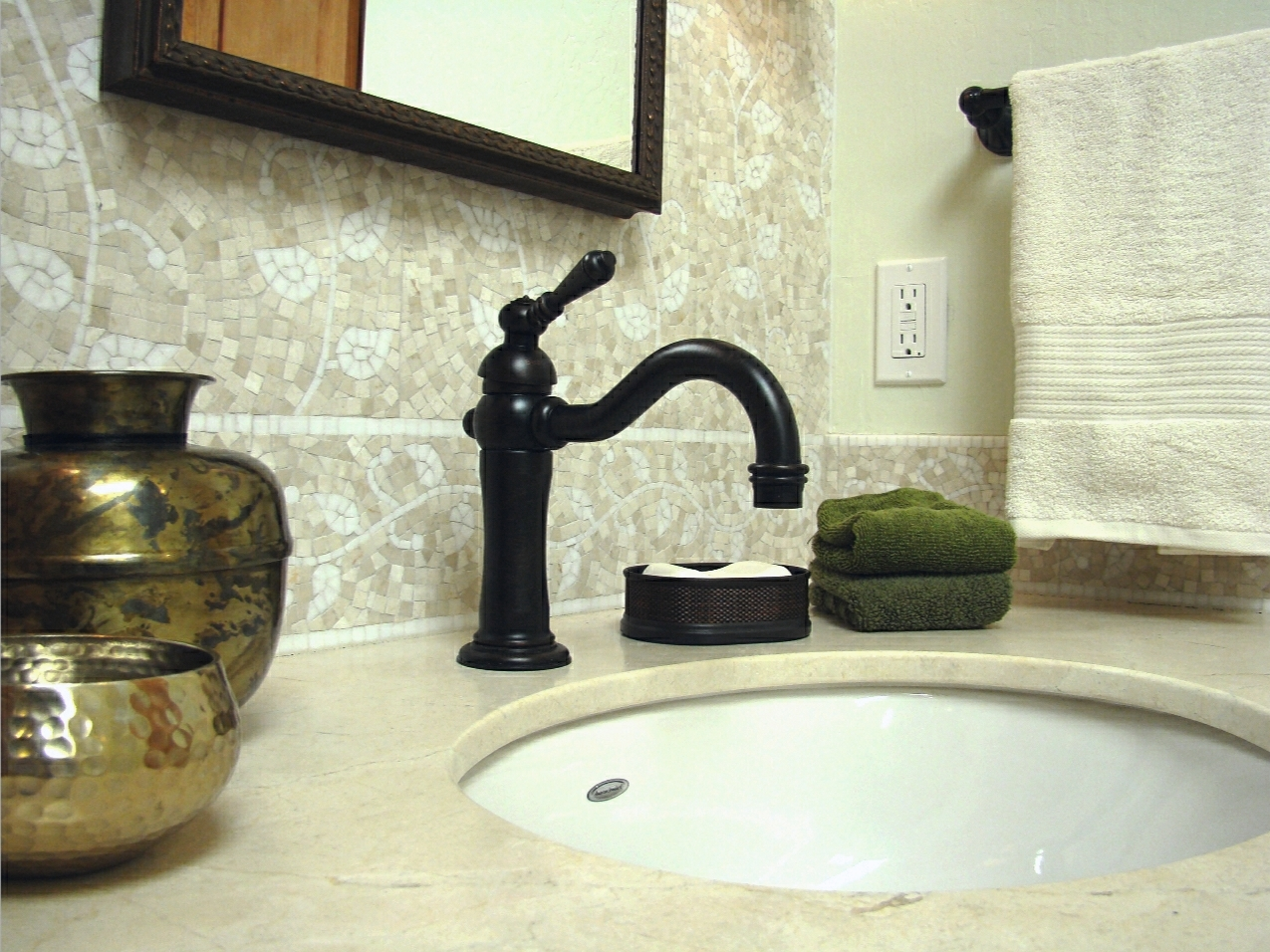 Fiorito Interior Design, interior design, remodel, master bathroom, custom vanity, mosaic tile, marble counter, sink, faucet, traditional
