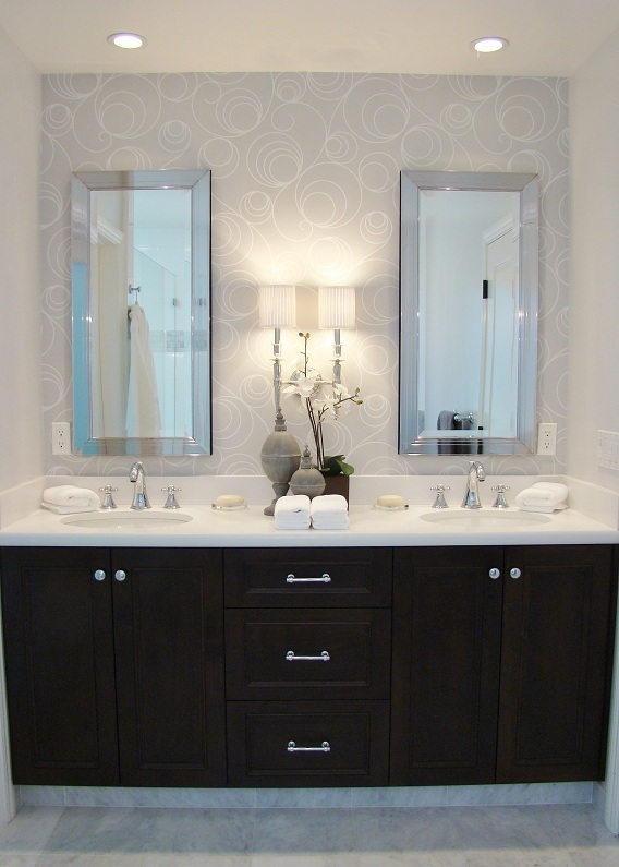 Fiorito Interior Design, interior design, remodel, master bathroom, white and grey, custom vanity, sconce, wallpaper, double sinks, framed mirror medicine chest
