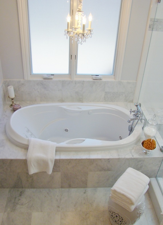 Fiorito Interior Design, interior design, remodel, master bathroom, white and grey, tub, marble floor, chandelier