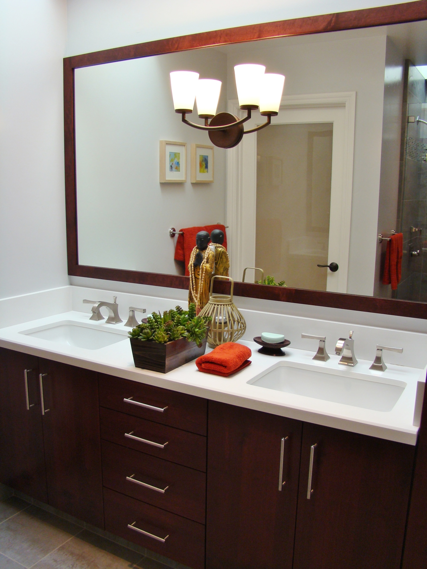 Fiorito Interior Design, interior design, remodel, bathroom, transitional, custom vanity, double sinks, framed mirror
